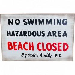 "Cartel ""No Swimming"" Tiburón Jaws Trick Or Treat Studios"
