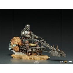 Estatua The Mandalorian On Speederbike Deluxe Escala 1:10 Art Scale Iron Studios