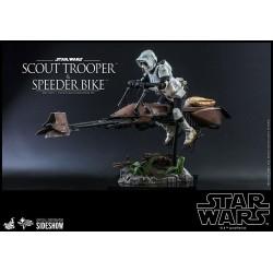 Set Figura Scout Trooper y Speeder Bike Star Wars El Retorno del Jedi Hot Toys Escala 1/6