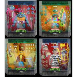 Pack 4 figuras Tortugas Ninja Ultimates Ace Duck, Scratch, Sewer Surfer Mike y Slash Super7