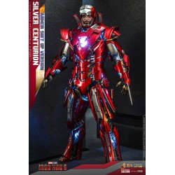 Figura Silver Centurion Iron Man 3 Armor Suit Up Version  Hot Toys Escala 1/6