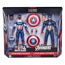 Pack 2 Figuras Sam Wilson y Steve Rogers Capitán América Marvel Legends Hasbro