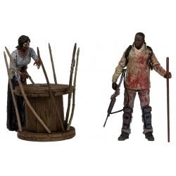 The Walking Dead. Figuras de Acción. Pack Deluxe Morgan con Zombie Empalado  (Serie 8)