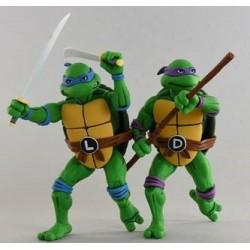 Pack Figuras Leonardo y Donatello Tortugas Ninja 1980 Neca