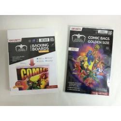 Pack Ahorro Tamaño Golden. 100 Cartones para Cómics + 100 Bolsas Protectoras para Cómics