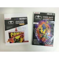 Pack Ahorro Tamaño Golden (Actual) con Cierre Reutilizable. 100 Cartones para Cómics + 100 Bolsas Protectoras para Cómics