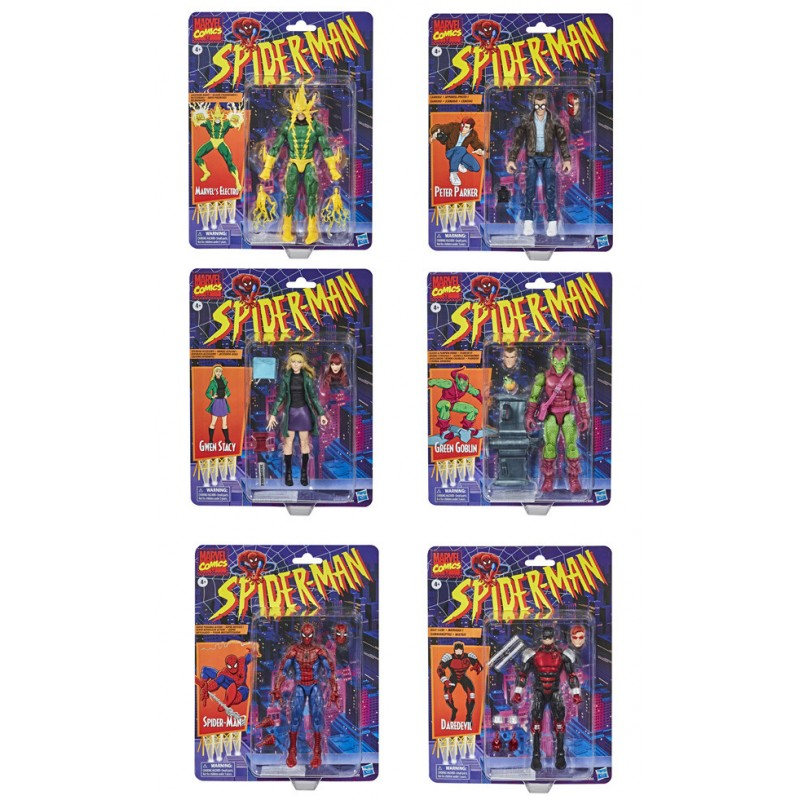 spiderman figuras marvel legends retro vintage hasbro wave gwen stacy electro duende verde green goblin peter parker
