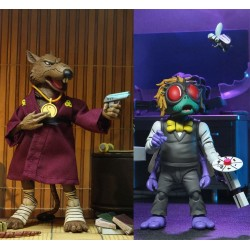 Pack Figuras Splinter y Baxter Stockman Cartoon Tortugas Ninja Neca