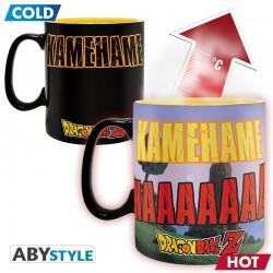 pack de taza sensible a la temperatura y posavasos Dragon ball kamehameha