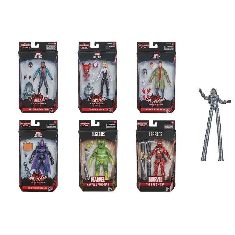 Pack 8 figuras spider-man into the spider-verse marvel legends