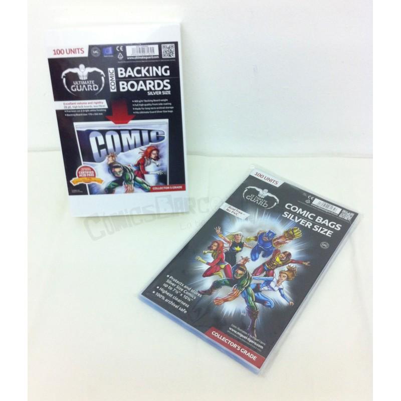Pack Ahorro Cartones para Cómics + Bolsas Protectoras para Cómics Tamaño Silver