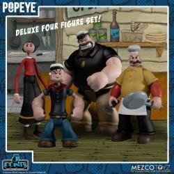 Playset Deluxe 4 Figuras Popeye, Olivia, Bluto, Rough House Mezco
