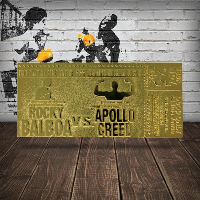 Réplica Ticket Segundo Combate Rocky Vs. Apollo Creed Superfight Rocky II (Dorado)