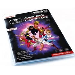 Pack Ahorro Tamaño Magazine (Actual) con Cierre Reutilizable. 100 Cartones para Cómics + 100 Bolsas Protectoras para Cómics