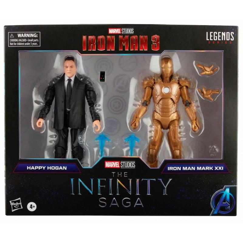 Pack Figuras Happy Hogan y Iron Man Mark XXI The Infinity Saga Marvel Legends