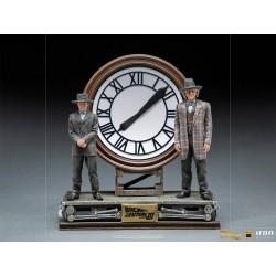 Estatua Marty Y Doc regreso Al futuro 3 En El Reloj Deluxe Escala 1:10 Iron Studios